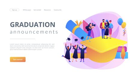 Graduation concept landing page Illustration