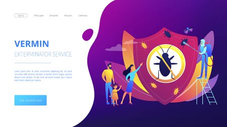 Home pest insects control concept landing page