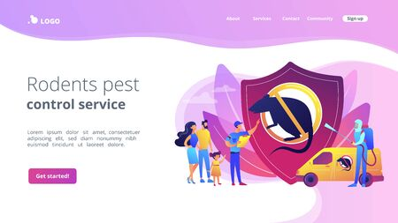Rodents pest control service concept landing page