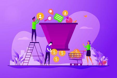 Generación de leads, estrategia de campaña de marketing dirigida. Gestión del embudo de ventas, representación del recorrido del cliente, concepto de etapas del embudo de ventas. Ilustración creativa del concepto aislado del vector