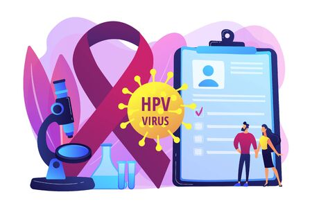 Human papillomavirus development. Disease symptom. Risk factors for HPV, HPV infection leads to cervical cancer, cervical cancer screening concept. Bright vibrant violet vector isolated illustration Illusztráció