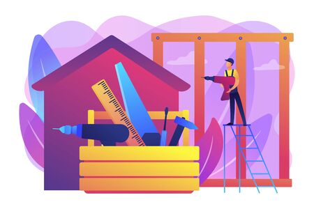 Building construction site. Handyman working. Carpenter services, building maintenance and home renovation, get local carpenters concept. Bright vibrant violet vector isolated illustration Ilustração