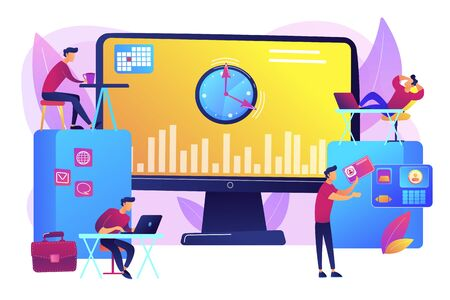 Work performance on schedule. Staff discipline. Time and attendance tracking system, office time tracking, employee time management concept. Bright vibrant violet vector isolated illustration Ilustração
