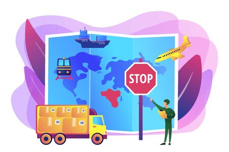 Banned products transportation, smuggling. Embargo regulation, sanctions goods, limited importation exportation of goods concept. Bright vibrant violet vector isolated illustration