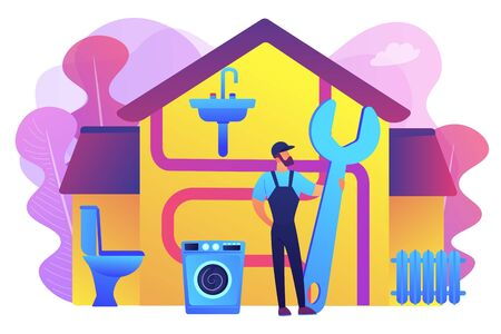 Repairman service. Handyman with wrench, mechanic. Plumber services, full service sewer and drain repair, cheap and reliable plumbers concept. Bright vibrant violet vector isolated illustration