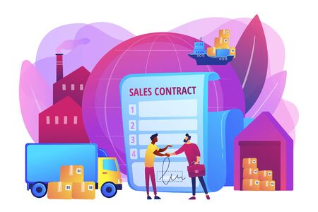 International business partnership, global trade. Sales contract terms, Incoterms terms, international trading regulations concept. Bright vibrant violet vector isolated illustration  イラスト・ベクター素材