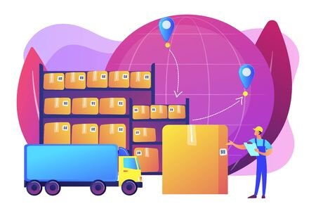Order worldwide delivery service. Storehouse products storage. Transit warehouse, bonded warehouse, transferring process of goods concept. Bright vibrant violet vector isolated illustration