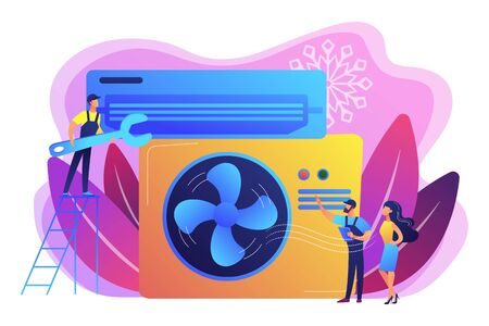 Electrician service. Air conditioning and refrigeration services, installation and repair of air conditioners, hire best technicians concept. Bright vibrant violet vector isolated illustration