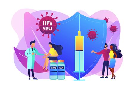 HPV vaccination concept vector illustration