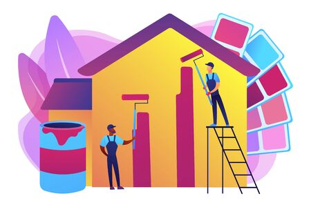 Building exterior renovation. Painter services, best residential and commercial painting, interior and exterior house painters concept. Bright vibrant violet vector isolated illustration Ilustração
