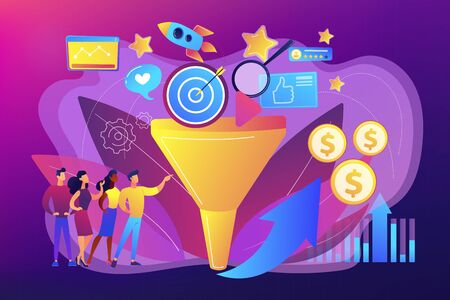 Analysts analyzing market. Selling strategy, lead generation. Marketing funnel, product marketing cycle, advertising system control concept. Bright vibrant violet vector isolated illustration  イラスト・ベクター素材