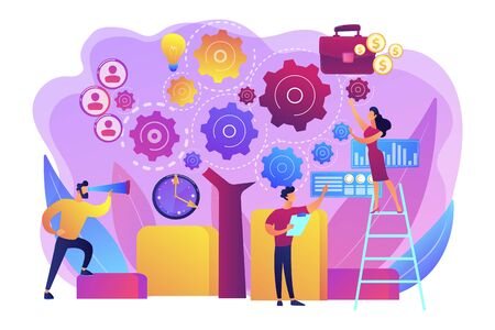 Business operation planning. Software technology integration. Enterprise architecture, IT standard for your business, business it management concept. Bright vibrant violet vector isolated illustration Illustration