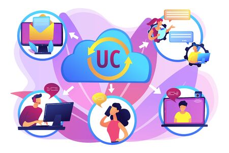 Communication integration. Collaboration service. Unified communication, unified communications platform, consistent unified user interface concept. Bright vibrant violet vector isolated illustration