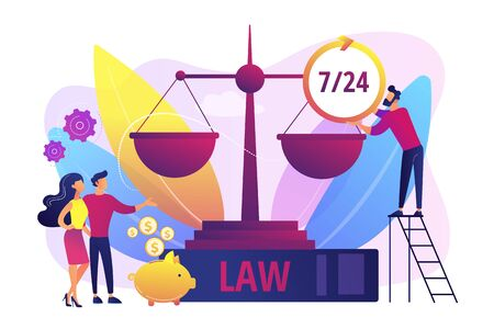 Attorney company, legal consulting and support. Notary clients. Legal services, lawyer referral service, get professional legal help concept. Bright vibrant violet vector isolated illustration Illusztráció