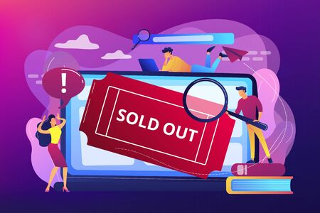 Popular show, best concerts and music festivals searching. Online booking system. Sold-out event, sold-out crowd, no tickets available concept. Bright vibrant violet vector isolated illustration