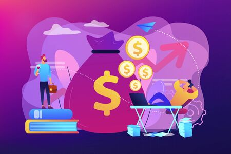 Stock market investing, online monetization. Remote job, freelance work. Passive income, rental activity income, passive income investment concept. Bright vibrant violet vector isolated illustration Illustration