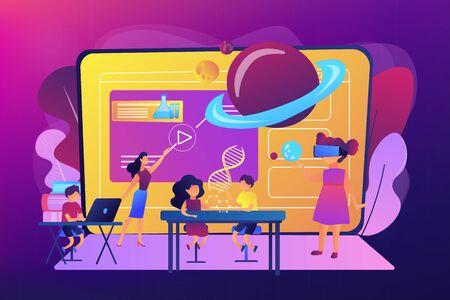 Futuristisches Klassenzimmer, kleine Kinder lernen mit Hightech-Geräten. Intelligente Räume in der Schule, KI in der Bildung, Lernmanagementsystemkonzept. Helle, lebendige violette Vektor-isolierte Illustration