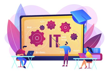 Software development. Programming, coding learning. Information technology courses, IT courses for all levels, computing and hi tech course concept. Bright vibrant violet vector isolated illustration