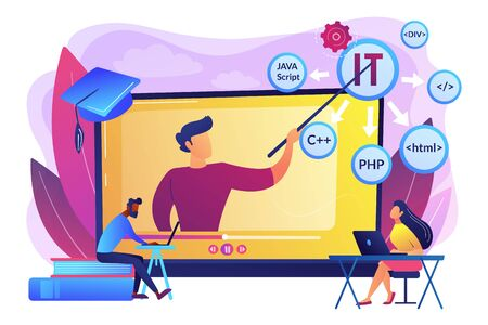 Teaching students online. Internet learning. Computer programming. Online IT courses, best online IT training, online certification courses concept. Bright vibrant violet vector isolated illustration