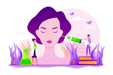 Cosmetologists making face needle injection. Woman getting wrinkles filling. Facial contouring, medical face sculpting, facial correction surgery concept. Vector isolated concept creative illustration