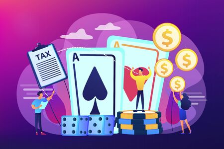 Poker player, lucky casino winner flat vector character. Gambling income, taxation of gambling income, legal wagers operations concept. Bright vibrant violet vector isolated illustration