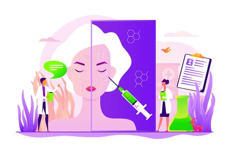 Old woman getting facial plastic correction. Skin anti aging, beauty treatment. Face lifting, rhytidectomy procedure, facelift surgery concept. Vector isolated concept creative illustration Ilustrace