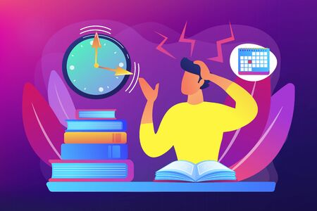Terrible time crunch, cramming material before tests, examination. Exams and test results, personal exam timetable, exam stress and anxiety concept. Bright vibrant violet vector isolated illustration Illustration