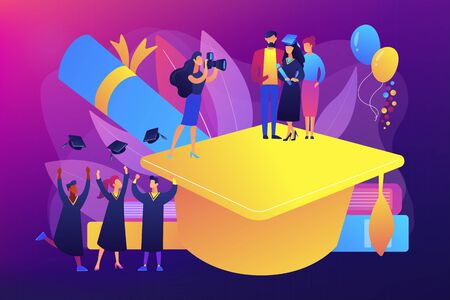 Graduating with friends. Proud parents with graduated student. Graduation day, getting an academic degree, graduation announcements concept. Bright vibrant violet vector isolated illustration