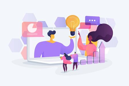 Business webinar. Internet courses and distance classes. Online business conference, meeting and negotiations, partners agreement concept. Vector isolated concept creative illustration 免版税图像 - 128545985