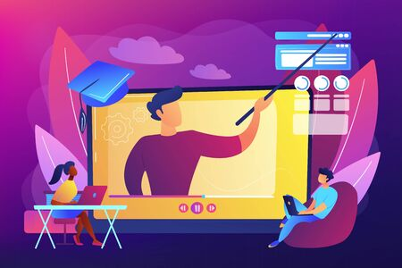 Internet education, remote website development school. Online workshop, online topic course, distance web learning, connect to our workshop concept. Bright vibrant violet vector isolated illustration