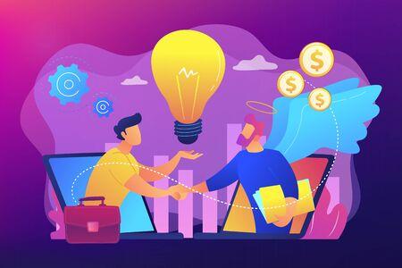 Finansowanie przedsiębiorczości, inwestycje inicjatywne, finansowanie pomysłów. Anioł inwestora, wsparcie finansowe dla startupu, profesjonaliści biznesowi pomagają koncepcja. Jasna, wibrująca fioletowa ilustracja wektorowa na białym tle