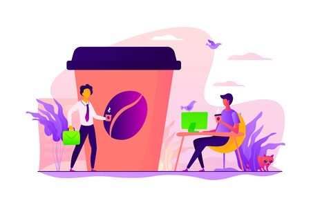 Riesige Kaffeetasse und winzige Geschäftsleute, die trinken, nehmen Kaffee draußen und im Büro mit. Kaffee zum Mitnehmen, unterwegs trinken, Geschäftskonzept zum Mitnehmen. Vektor isolierte Konzept kreative Illustration.