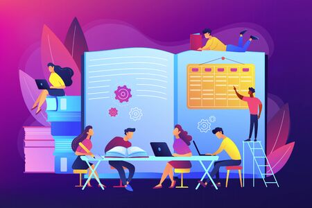 Preparing test together. Learning and studying with friends. Effective revision, revision timetables and planning, how to revise for exams concept. Bright vibrant violet vector isolated illustration