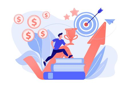 Businessman with trophy cup jumping on books to target and rising arrow. Motivation, job success, encouragement concept on white background. Coral pink palette vector isolated illustration