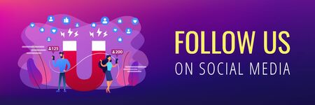 Generating new leads advertising strategy. Aiming at target audience. Attracting followers, follow us on social media, subscriber counting concept. Header or footer banner template with copy space.