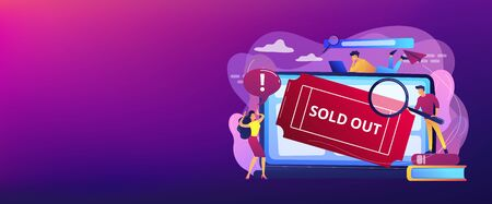 Popular show, best concerts and music festivals searching. Online booking system. Sold-out event, sold-out crowd, no tickets available concept. Header or footer banner template with copy space.