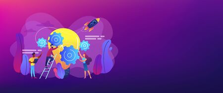 Tiny business people generating ideas and holding gears at big light bulb. Idea management, alternative thinking, best solution choice concept. Header or footer banner template with copy space. Illustration