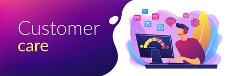 Assistenza clienti, call center, operatore hotline, consulente manager. Assistenza al cliente, servizio impeccabile e personalizzato, concetto di esperienza del cliente. Modello di banner di intestazione o piè di pagina con spazio di copia.