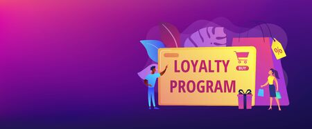 Rewards scheme for customers. Marketing strategy. Clients attraction. Loyalty program, personalized promotion, use your purchase history concept. Header or footer banner template with copy space. Illustration