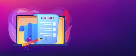 Business agreement. Legal arrangement. Employee hiring. Electronic contract, ecommerce business documents, digital signature validation concept. Header or footer banner template with copy space. Stock Illustratie