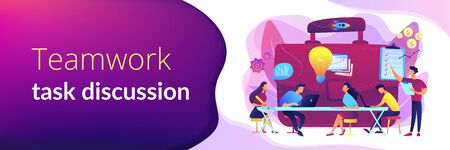 Colleagues meeting. Team brainstorming. Corporate training. Business briefing, teamwork task discussion, business strategy communication concept. Header or footer banner template with copy space. Illusztráció