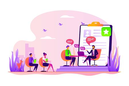 Employee hiring. Recruiter and vacancy candidates. Personnel recruitment. HR management. Job interview, employment process, choosing a candidate concept. Vector isolated concept creative illustration