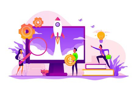 Project management. Business process set up. Enterprise growth. Company development. Start up launch, Start up venture, entrepreneurship concept. Vector isolated concept creative illustration