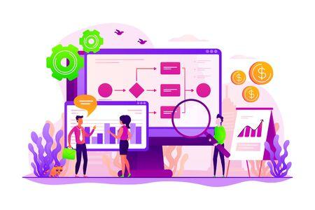 Strategia firmy. Organizacja pracy. Zarządzanie projektami. Automatyzacja procesów biznesowych, przepływ pracy procesów biznesowych, koncepcja zautomatyzowanego systemu biznesowego. Ilustracja wektorowa na białym tle koncepcja kreatywnych Ilustracje wektorowe