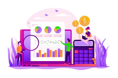 Marketing strategy and data analysis. Marketers analyzing infographics. Identify business needs, determine solutions, IT business problems concept. Vector isolated concept creative illustration
