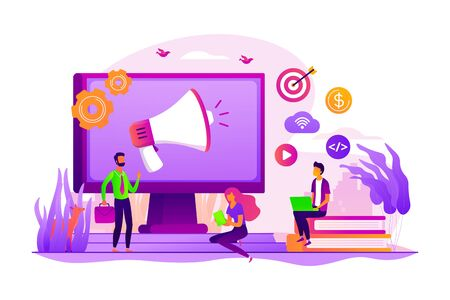 Digital marketing benefit. Web analytics. Programmers working in team. Marketing activity. Attribution modeling, brand insight, measurement tools concept. Vector isolated concept creative illustration