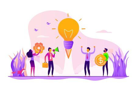 Startup, project launch. Team brainstorming, searching solution. Business idea, business plan, small business launcher, business development concept. Vector isolated concept creative illustration