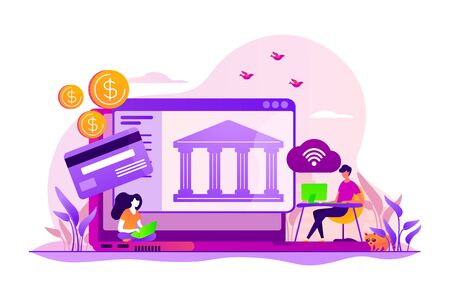 Online payment protection system. Secure bank transaction. Open banking platform, online banking system, finance digital transformation concept. Vector isolated concept creative illustration 向量圖像
