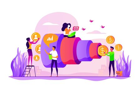 Sales funnel and lead generation. Marketing strategy. Sales pipeline management, representation of sales prospects, customer prospects lifecycle concept. Vector isolated concept creative illustration