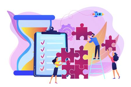 Project management. Business process and planning, workflow organization. Colleagues working together, teamwork. Project delivery concept. Bright vibrant violet vector isolated illustration Illustration